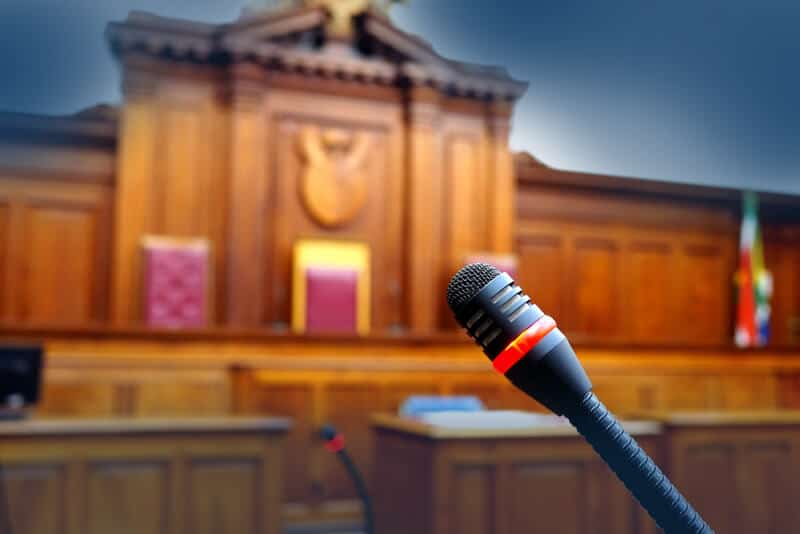 Image of microphone in the courtroom